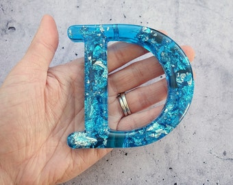 Alphabet Letter D, Wall Letter D, Blue Resin Silver Leaf, Decorative Letter, Blue Letter, Letter Wall Art, Wall Letter, Hanging Letter