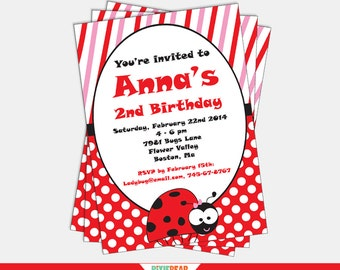 Ladybug Invitation - Ladybug Birthday Invitation  - Ladybug Party - Lady Bug Invitation - Ladybug Party Invitation (Instant Download)