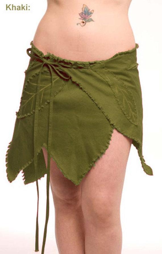 Khaki Leaf Wrap Skirt Trance Fairy Elf Festival Psy Pixie
