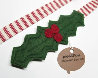 Christmas Bow Tie - Red & Green Holly Bow Tie with Candy Cane Band - Christmas Photo Prop
