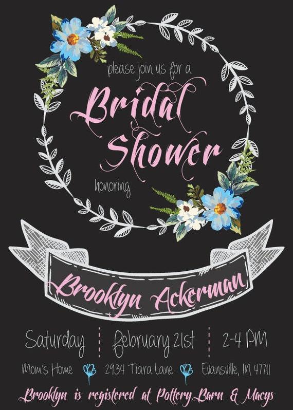 "Custom made bridal shower garland flower invitations 5x7"""