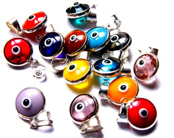 Silver Evil Eye, 10pcs Evil Eye Charm Pendant, Turkish Handmade Glass Evil Eye Charm, Mati Evil Eye, Pendant Charms, Nazar Evil Eye Charms