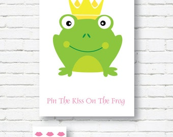 Pin the Kiss on the Frog Poster- Kiss the Frog Poster- Princess Party Printables