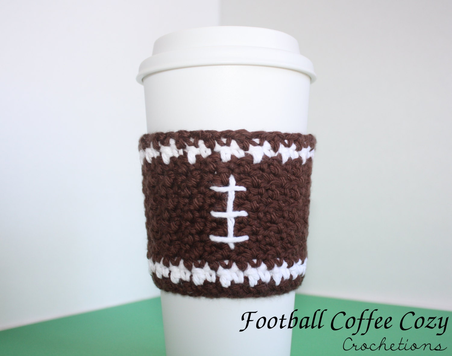 Crochet Football Coffee Cup Cozy / Cute by CrochetionsbyShell