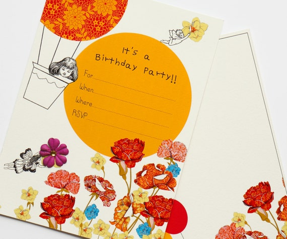 Digtial Hot Air Ballon Invitation. Fairies and Flowers Fill-In Invitation