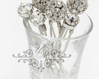Set of 6 Swarovski Crystal hair pins Czech Crystal ball hair pins Wedding Hair pins Bridal Bridesmaids hair pins Wedding Headpiece
