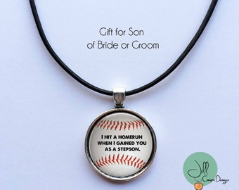 "Gift for Teenage Stepson from Bride or Groom - ""I hit a Homerun when I gained you as a stepson""- gift for stepson from Stepmom, Stepdad"