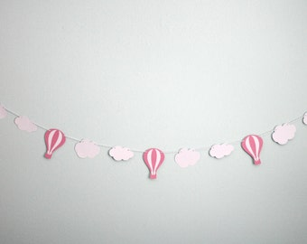 Pink Hot Air Balloon and Cloud Garland