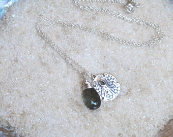 Sterling Silver Wire Wrapped Moss Aquamarine and Sand Dollar Necklace