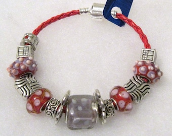 334 - Lavender and Red Beaded Bracelet