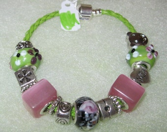 419 - CLEARANCE - Green and Pink Beaded Bracelet