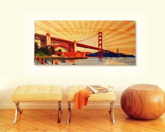 golden gate bridge wall art on solid wood boards san. Black Bedroom Furniture Sets. Home Design Ideas