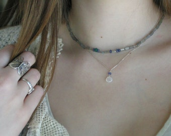 Tanzanite and Moonstone Sterling Silver Necklace.