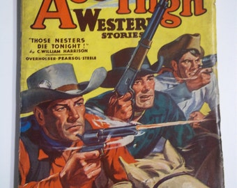 Ace High Western Stories January 1944 Vol. VII No. 4 Cowboy Pulp Magazine Overholser, Boyd, Pearsol, Steele & More!