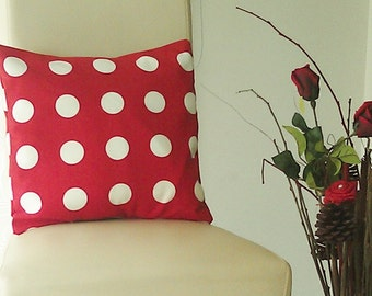Valentine Polka Dot Pillow - Valentine Cushion Cover - Pillow Cover - Cotton Cushion Cover - Home Decor - Red Pillow Cover Set of 2