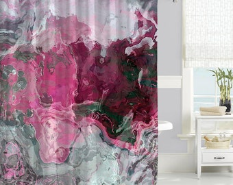 pink grey shower curtain. Contemporary shower curtain  waterproof fabric abstract art bathroom decor hot pink Dahlia Shower Curtain Navy Blue Pink Gray