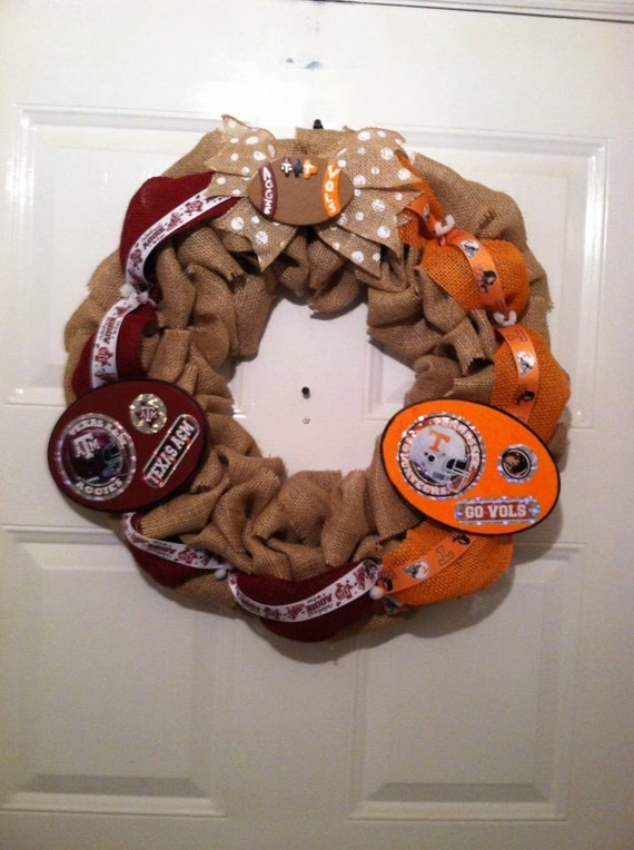 Texas A&M/Tennessee Volunteers Burlap Wreath, House Divided Texas A M,Tenessee Vols Wreath, Collegiate Wreath