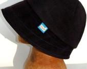Cotton velvet blue black cloche rainhat with fleecy lining