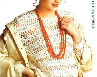 """Crochet pattern - Woman's """"Café au Lait"""" sweater jumper top - Instant download"""