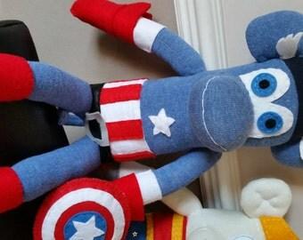 Handmade Captain America Sock Monkey