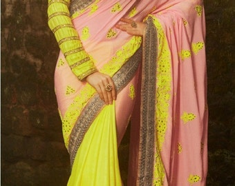Ready to wear-Designer saree in yellow and pink