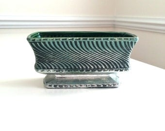 Vintage McCoy Floraline Pottery Planter Green Silver Yellow Rectangle 2029 USA Ceramic Retro Cool MCM