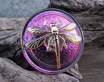 31mm Blue Purple Dragonfly Button Czech Glass 24K Gold BC-59,dragonfly button,czech glass button,glass dragonfly,purple dragonfly,