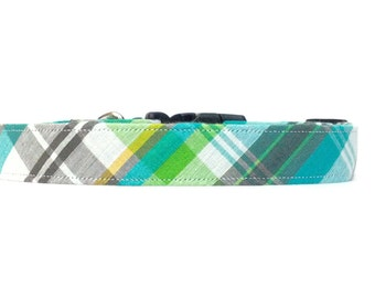 Preppy Seafoam Seersucker Plaid Dog Collar OR Matching Leash