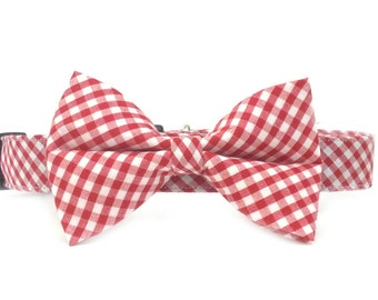 Red Gingham Bow Tie Dog Collar Set- Removable Bowtie