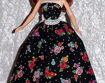 Handmade Barbie Clothes - Black Floral Gown made with Mary Engelbreit Fabric