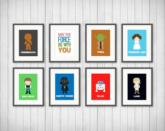 Space Wars Prints - May the force be with you Print - Boy's Room - Star Wars Art - Kids Room Decor - Bedroom Art - 4x6, 5x7 or 8x10