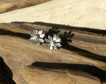 Handmade Sterling Silver Flower Stud Earrings