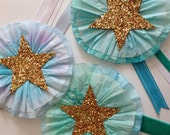 frozen ruffles - set of 5 winter ribbon ornaments // handmade star tissue paper christmas ornaments