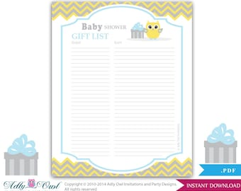 boy owl guest gift list guest sign in sheet card for baby shower