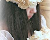 Boho Bridal Headband,Bohemian Wedding Headpiece,Satin Flowers,Pearl Brooches,Bridal Lace Headband,Boho Bridal Crown,Flower Girl Head Piece