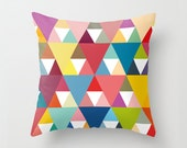 Geometric pillow cover with colourful triangles ,geometric pillow cover,modern,decorative pillow,living room decor,geometric cushion