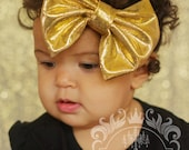 Gold Fabric Bow Headband ~ Baby Infant Toddler Girls Teen Adult Headband ~Fabric Headband ~ Christmas Bow Headband ~ Metallic Gold Headband