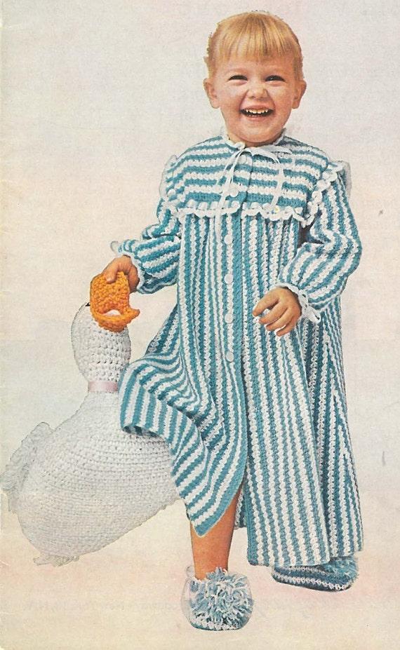 Crochet Baby Robe Pattern : PDF Vintage Pattern Toddlers Crochet Robe & Slippers