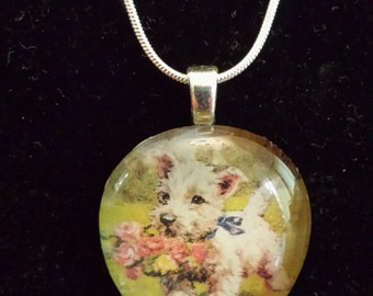 Handmade glass pendant necklace with vintage picture of adorable puppy