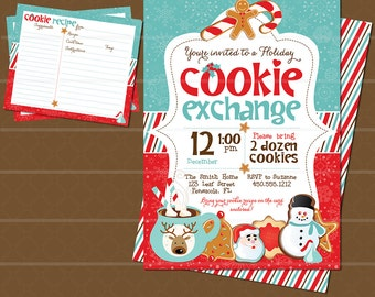 Holiday Cookie Exchange Invitation and Cookie Recipe Card // Cookie Swap Invite // Cookie Exchange Recipe Card //  Christmas Party // Red