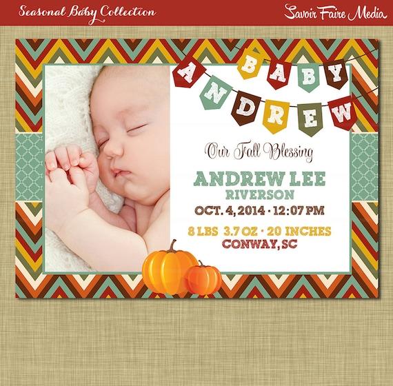 Fall Birth Announcement Pumpkin Boy Autumn Theme – Fall Birth Announcements