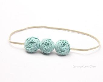 Newborn Baby Headband Pastel Light Blue Apricot Cream Mint Green Rosette Headband Fabric Flower Headband