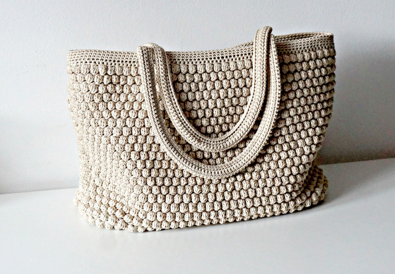 Crochet Tote Bag in 48 colors soft crochet purse by isWoolish