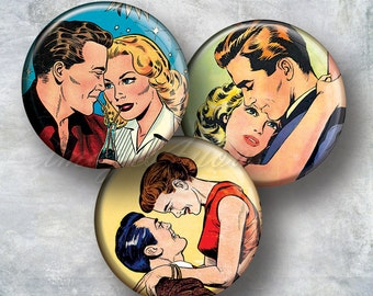 "Romance Comics retro printable Valentine Digital Collage Sheet circles 2 inch 2.25"" 2.5"" round download bottle cap images for pocket mirrors"