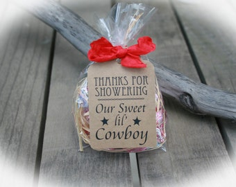 Cowboy Baby Shower Favors- DIY Bags/Favor Tags w/Ribbon - Candy Favors- Baby Shower DIY Kits- Western Baby Shower