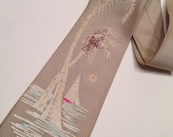 1950'S Screen Printed Hawaiian Palm Tree Tie