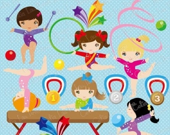 Gymnastics Clipart, Cute girl sport clip art , Rhythmic gymnastic (CG088) /Personal and Commercial Use / INSTANT DOWNLOAD