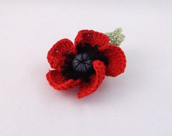 poppy brooch or hair clip, poppy brooch, poppy hair clip, crochet poppy brooch, crochet poppy hair clip, red crochet brooch,