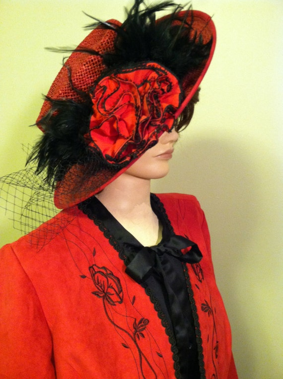 Edwardian Style Hats, Titanic Hats, Derby Hats Edwardian Original Titanic Downton Abbey World War I Tea Party Gatsby Hat and Clothing. Complete Edwardian Costume.  Size L Red/Black. $125.00 AT vintagedancer.com