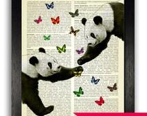 Awesome Panda Love Art Print, Pandas & Butterflies Poster, Kids Bedroom Decor, Animal Wall Art, Vintage Artwork, Panda Illustration Decal